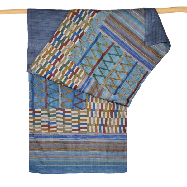 Darshan Shah Stole, Multi Colored Kantha, Blue Tussar Silk