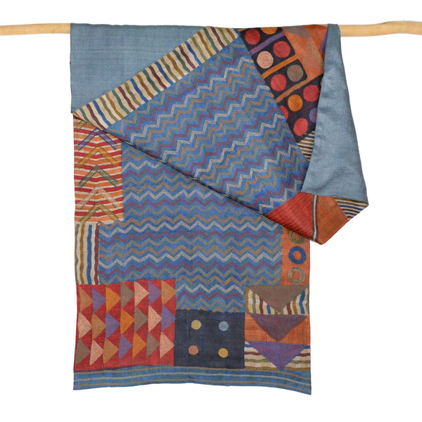 Darshan Shah Stole, Multi Colored Kantha, Zig Zag Tussar Silk