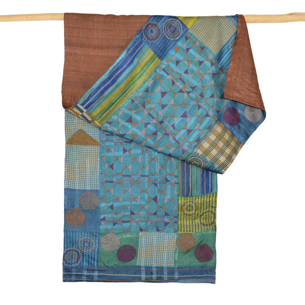 Darshan Shah Stole, Multi Colored Kantha, Circles in Tussar Silk