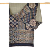 Darshan Shah Stole, Multi Colored Kantha, Floral on Black Tussar Silk