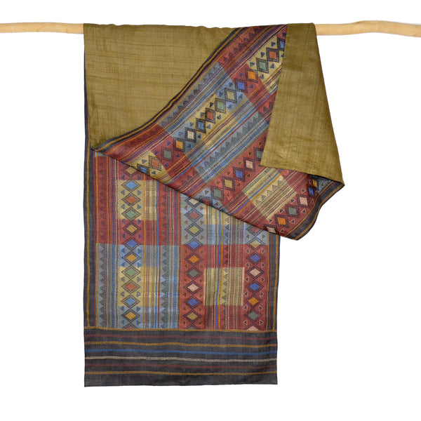 Darshan Shah Stole, Multi Colored Kantha, Diamonds on Red Tussar Silk