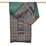 Darshan Shah Stole, Multi Colored Kantha, Black Triangles on Tussar Silk