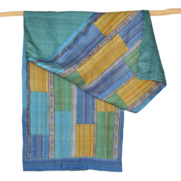 Darshan Shah Stole, Multi Colored Kantha, Small Zig Zags on Tussar Silk