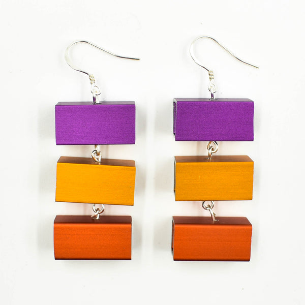 Christina Brampti Earrings, 3 Cubes, Red/Orange/Fuchsia