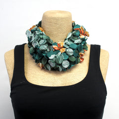 Galia Sasson infinity Scarf, Short, Dark Green/Rust