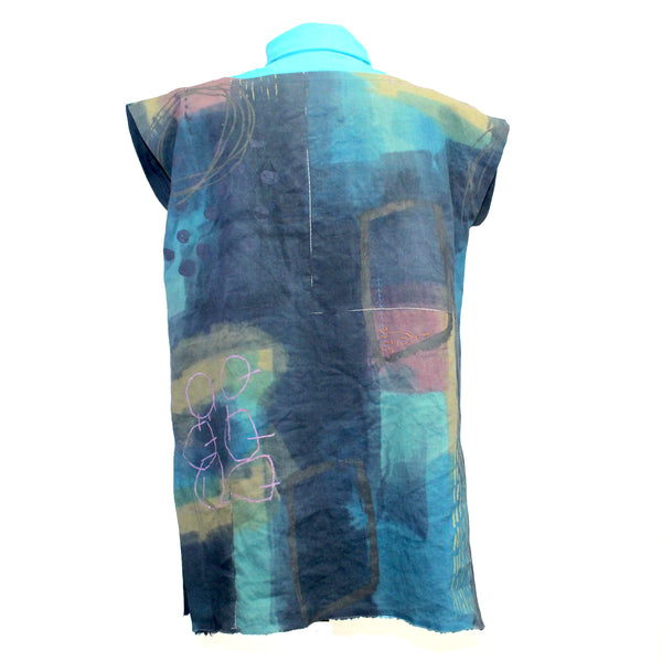 Holly Badgley Tunic, Long Cecile, Painted, Blue/Turquoise, OS