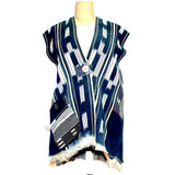 Holly Badgley Vest, African Kante, Blue/White, M/L
