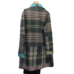 Holly Badgley Jacket, Kantha, Charcoal Plaid/Turquoise, M
