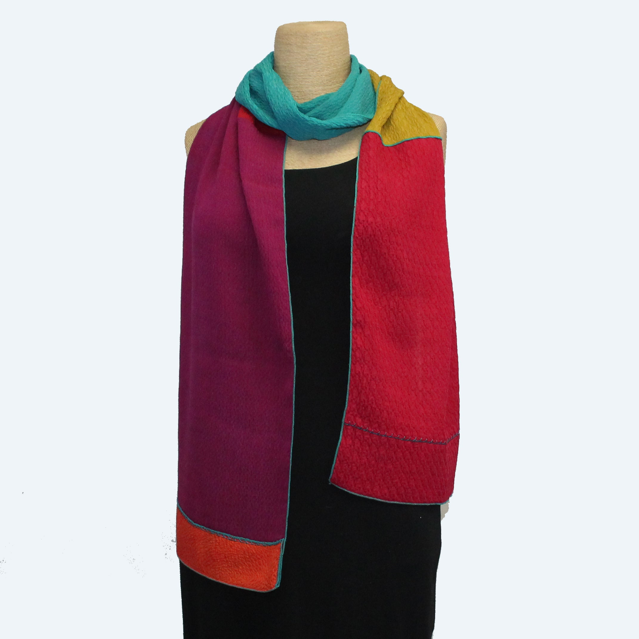 Judith Bird Scarf, Stretchy Silk, Bright Colors II
