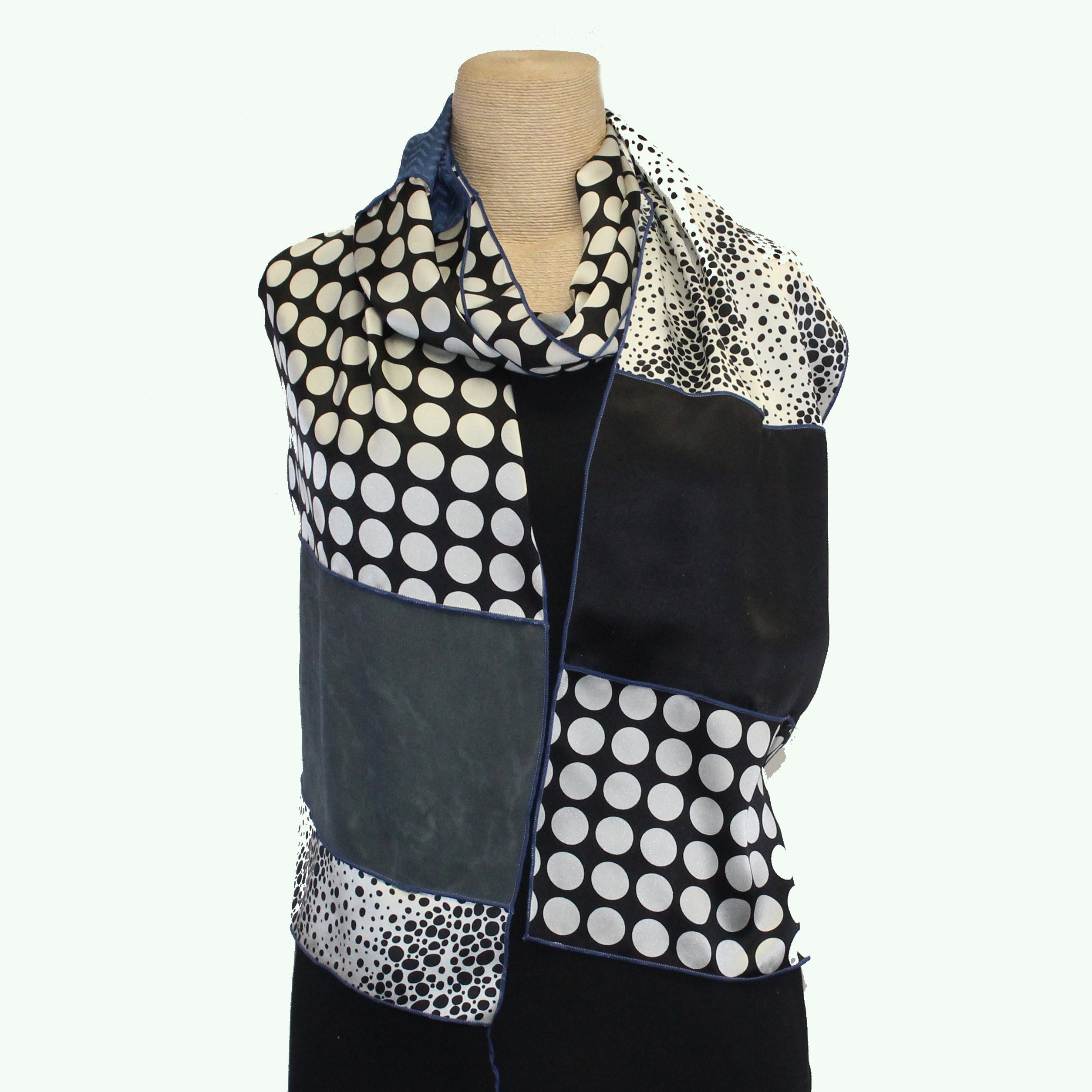 Judith Bird Scarf, SilkSingles, Black & White/Blue/Grey