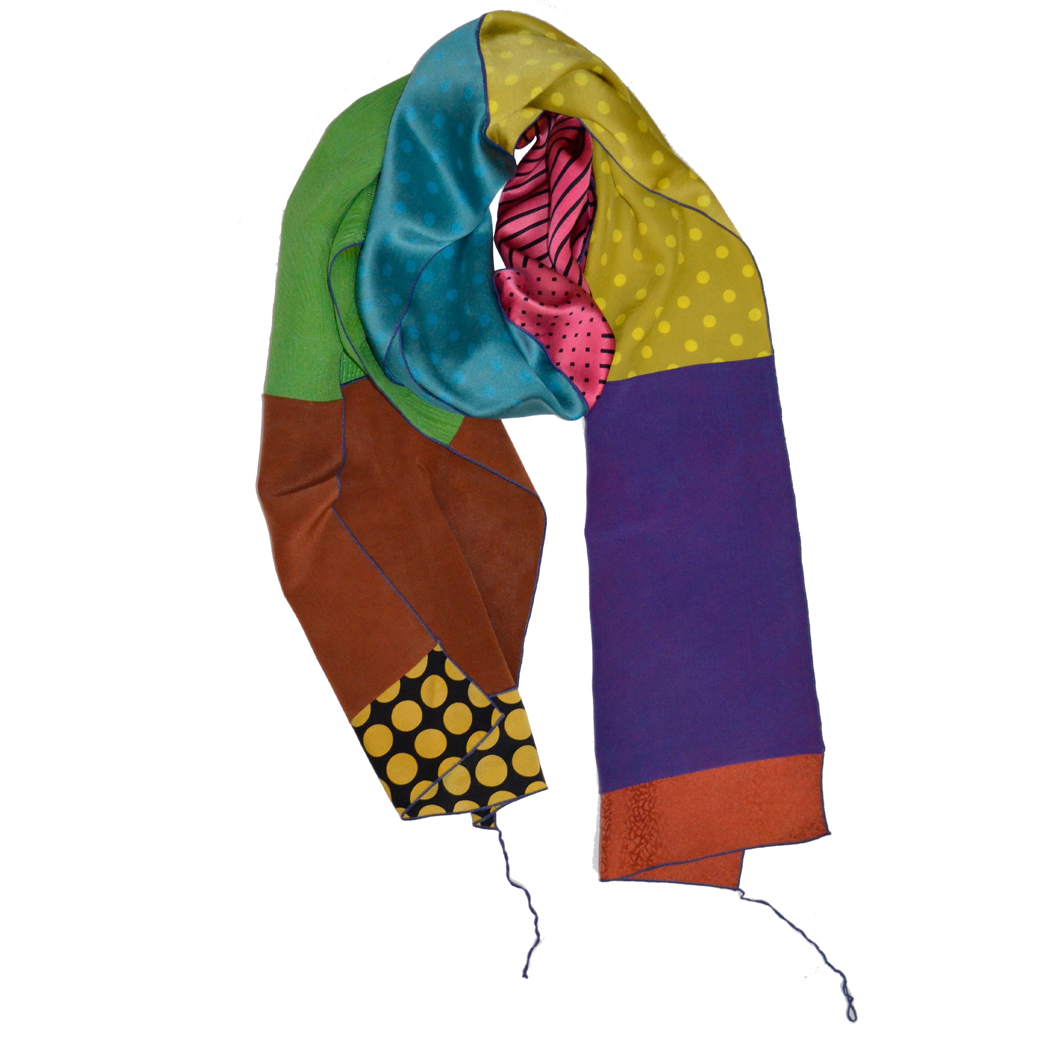 Judith Bird Scarf, Silk Singles, Brights with Green