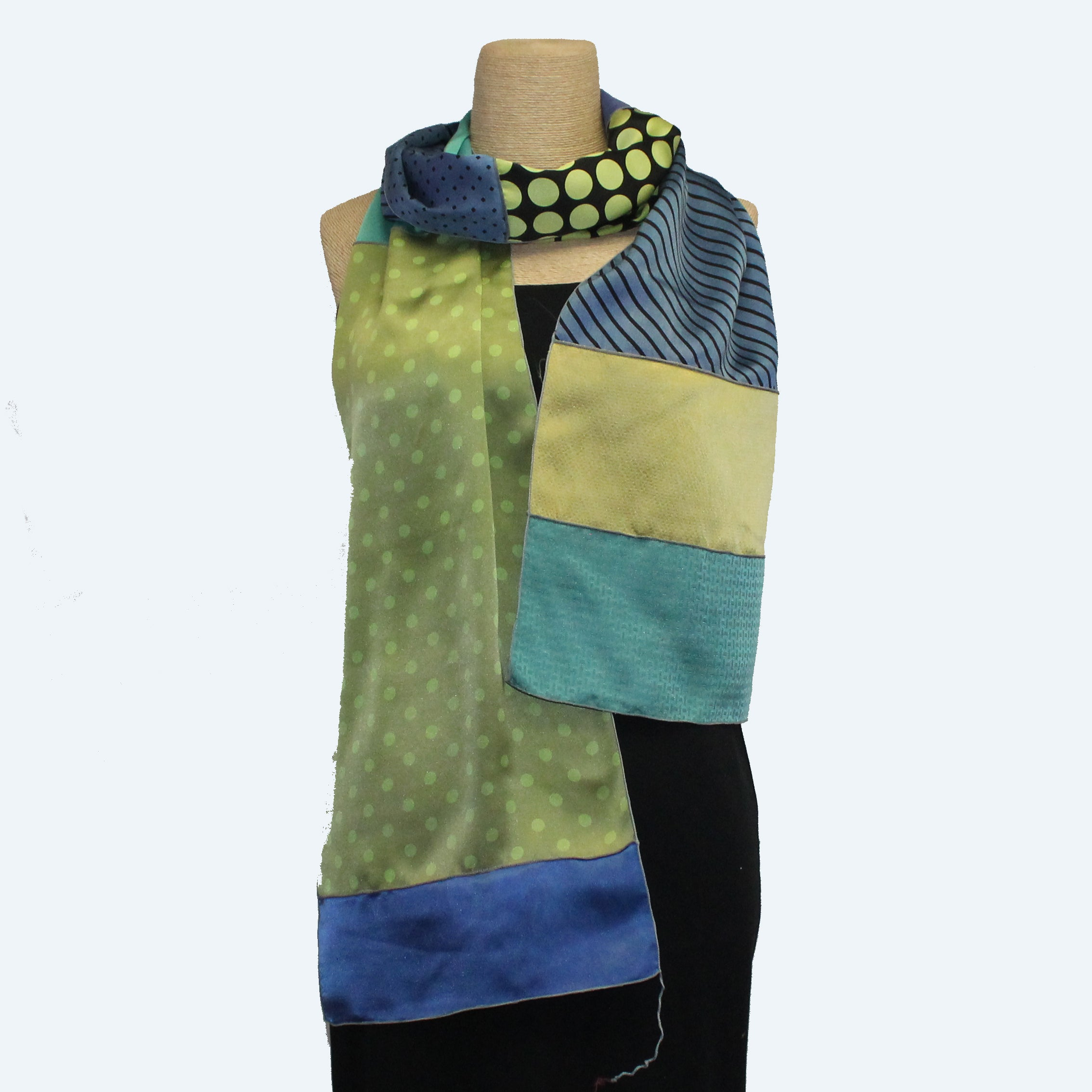 Judith Bird Scarf, SilkSingles, Bunch of Green Dots