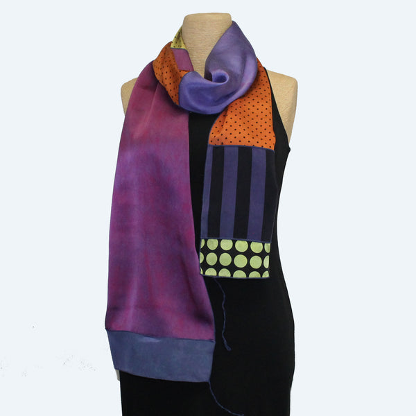 Judith Bird Scarf, SilkSingles, Purple/Magenta/Orange