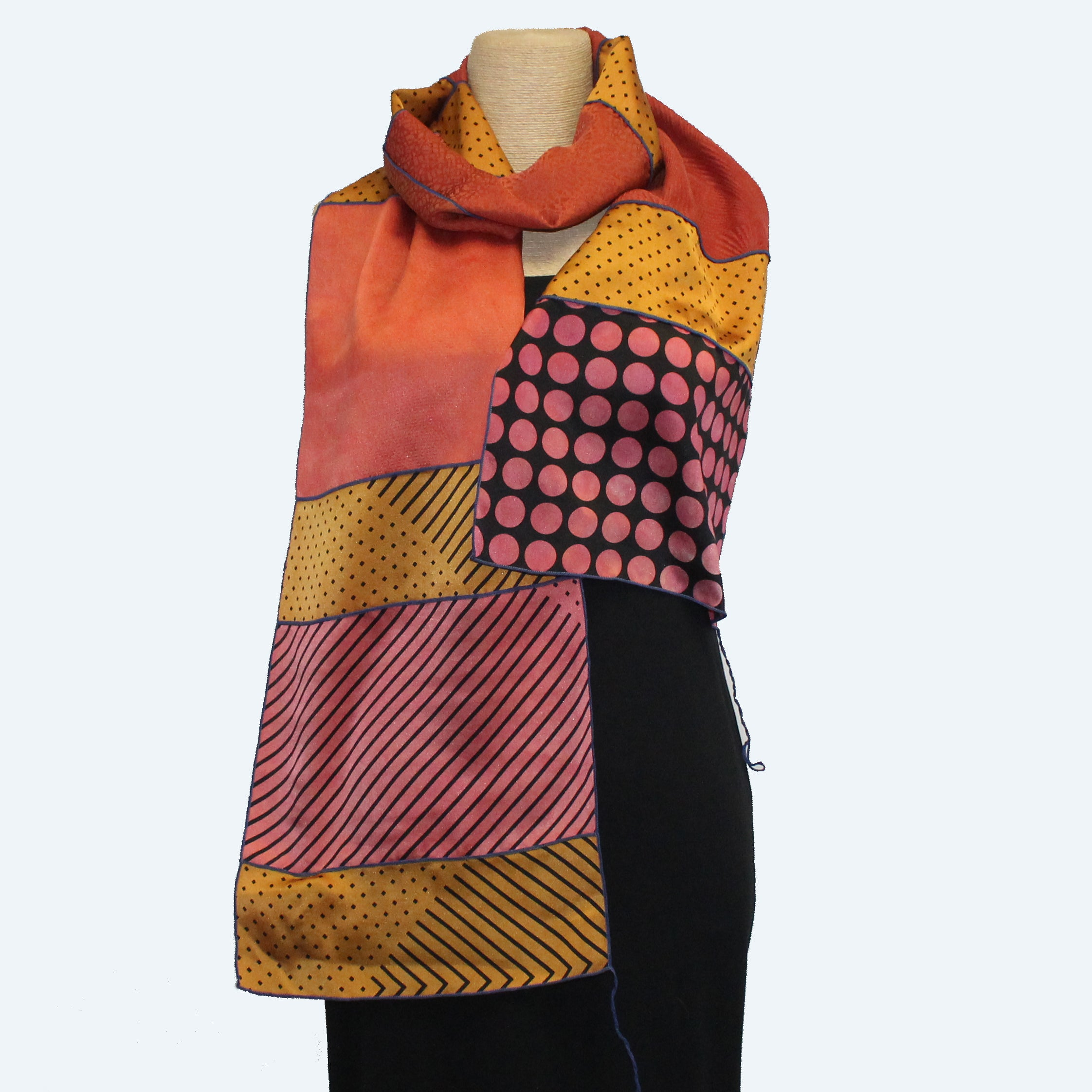 Judith Bird Scarf, SilkSingles, Coral With Gold