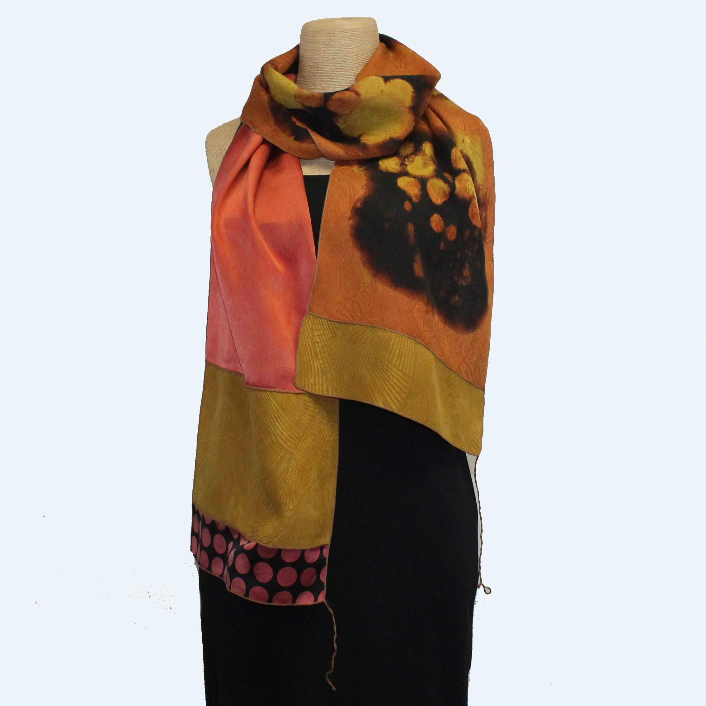 Judith Bird Scarf, Special Silk Singles, Floral Rotors/Orange