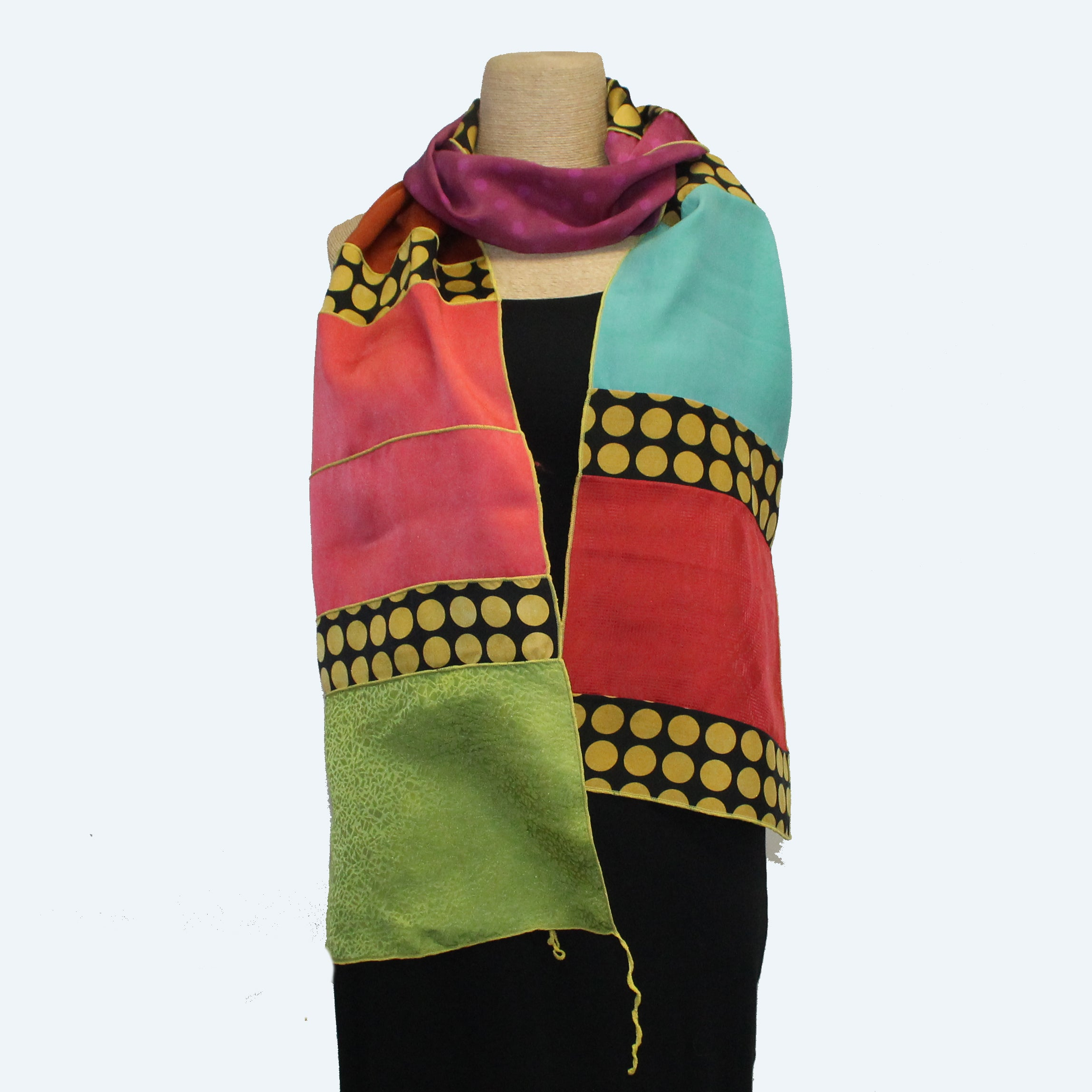 Judith Bird Scarf, Special Silk Singles, Yellow Dots/Multi-Colors