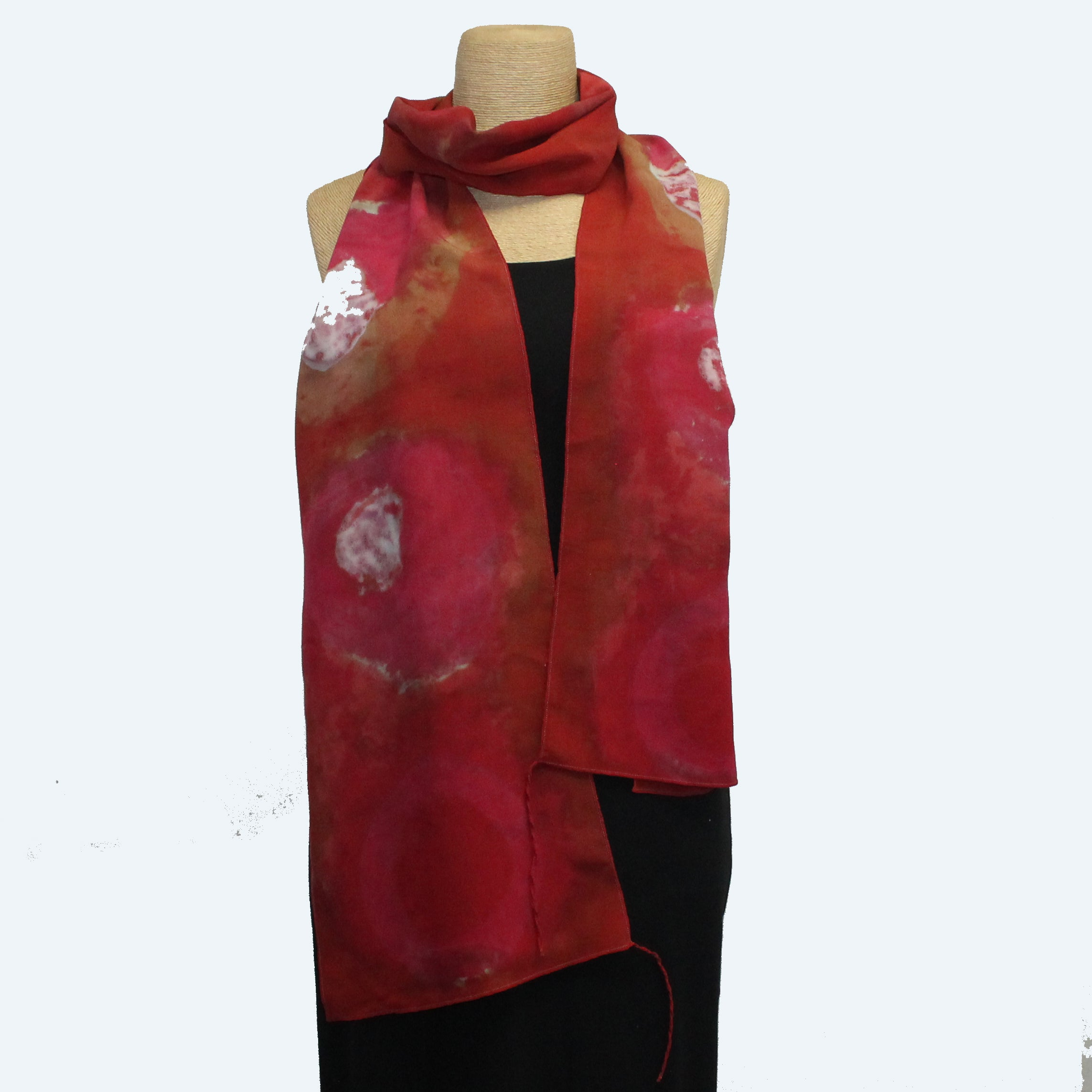 Judith Bird Scarf, Extra Special Silk Singles, Red Suns in Space