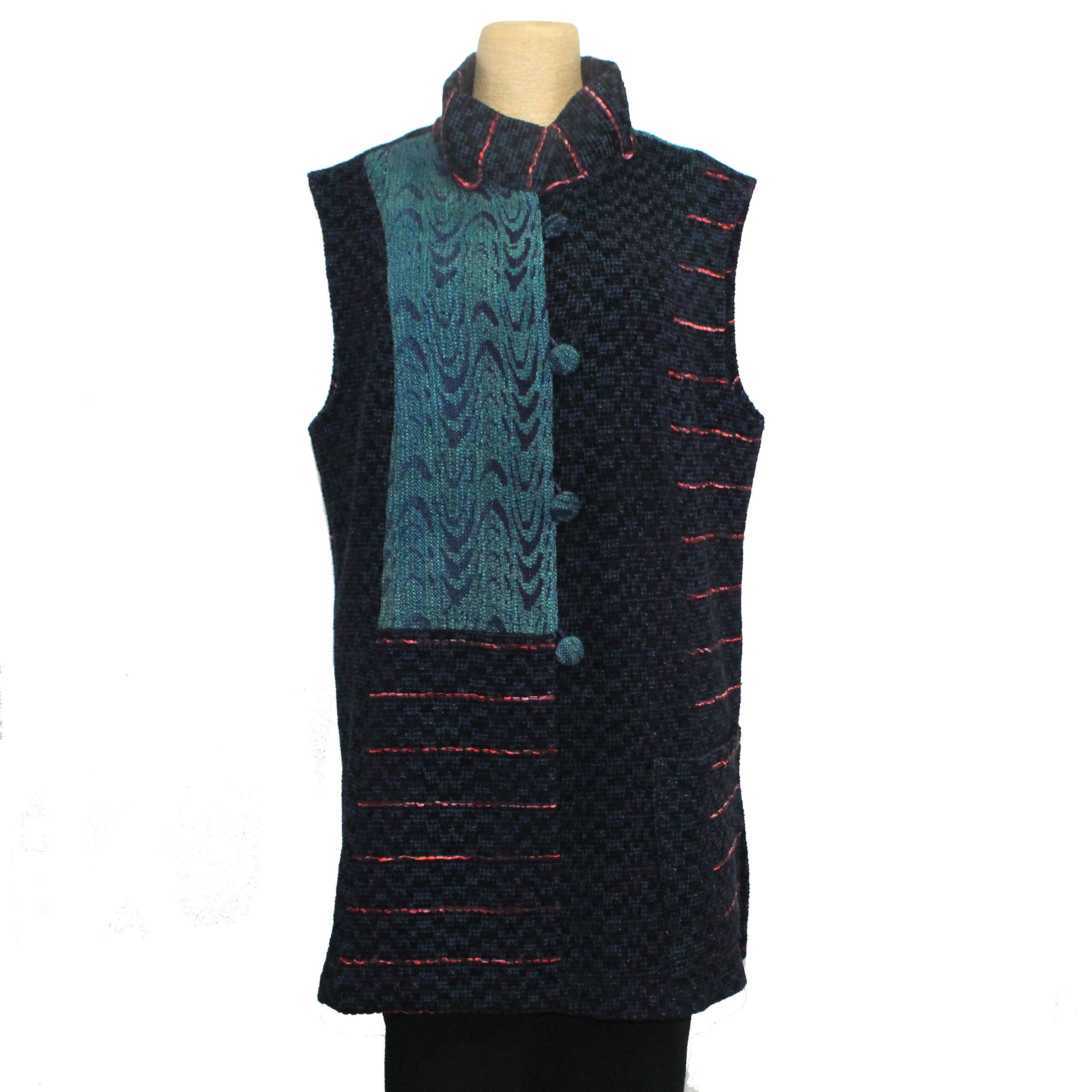 Joyce Wilkerson Vest, City Lights, Indigo/Red Stripe, S/M