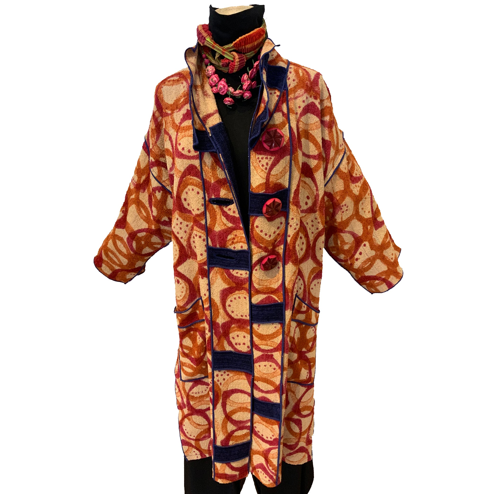 Judith Bird Coat, Kelp Beaker Print, Red/Orange,M