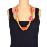 Kate Barber, Short Pleated Necklace, Lime and Orange