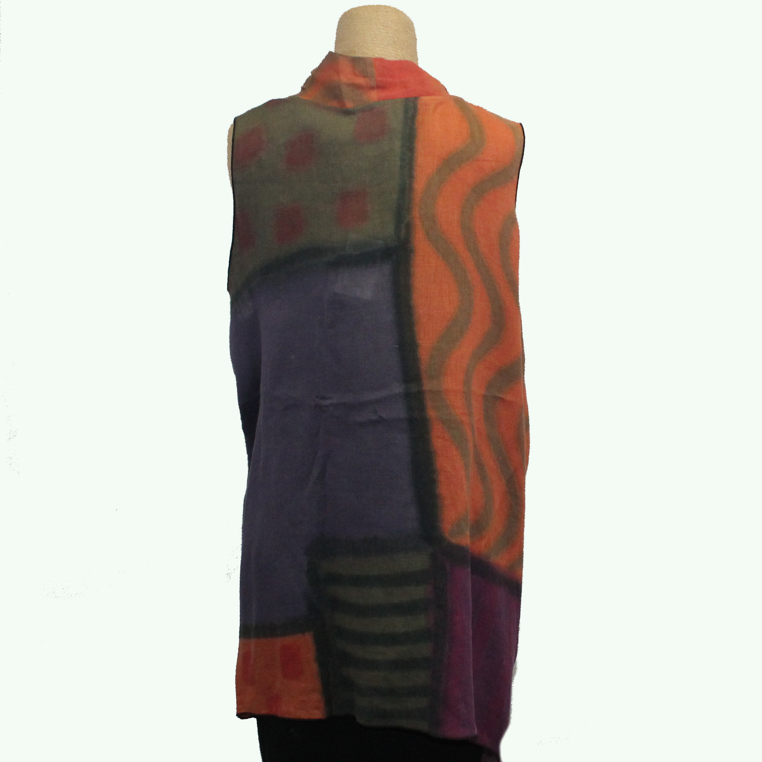 Kay Chapman Vest, Orange/Olive/Purple, Fits M-XL
