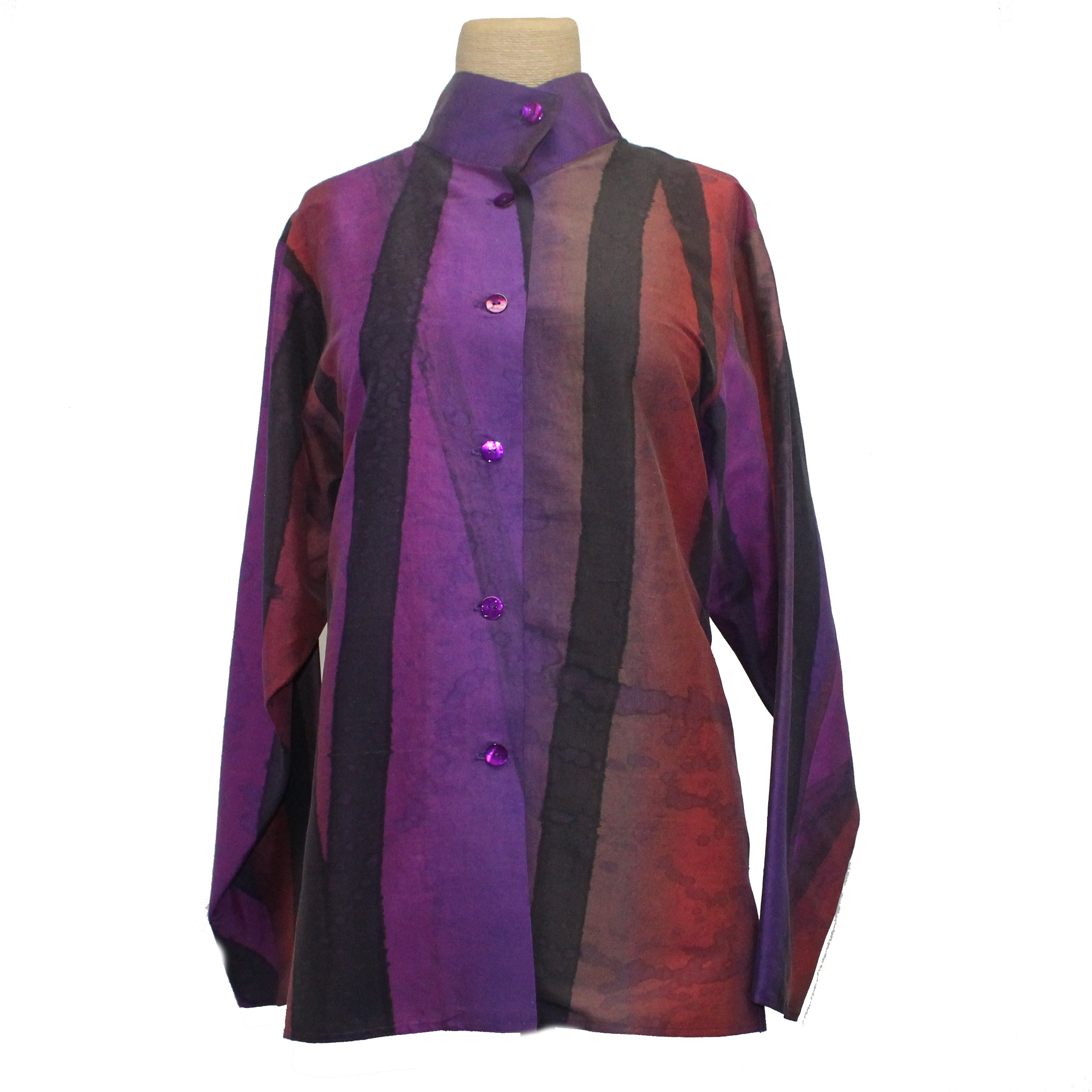 Kay Chapman Shirt, Purple/Rust/Black, M