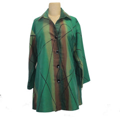 Kay Chapman Shirt, Swing, Green/Rust, XL
