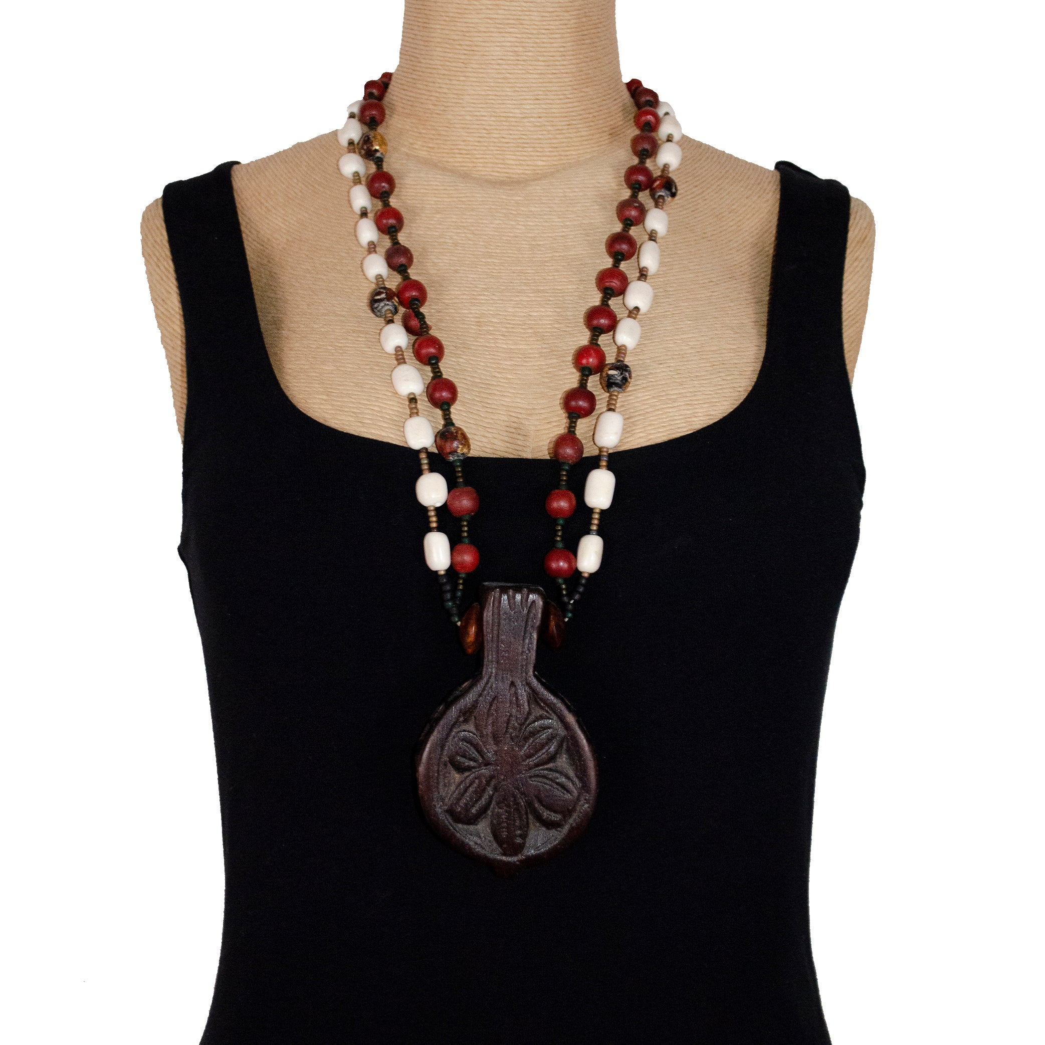 Marlene Bolotsky Necklace, Carved Wood Talisman