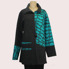 Maggy Pavlou Jacket, Turquoise/Charcoal, L/XL
