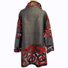 Maggy Pavlou Jacket, Long, Charcoal/Red, M