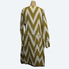 M Square Draped Coat, Zig Zag, Cream/Mustard, M/L