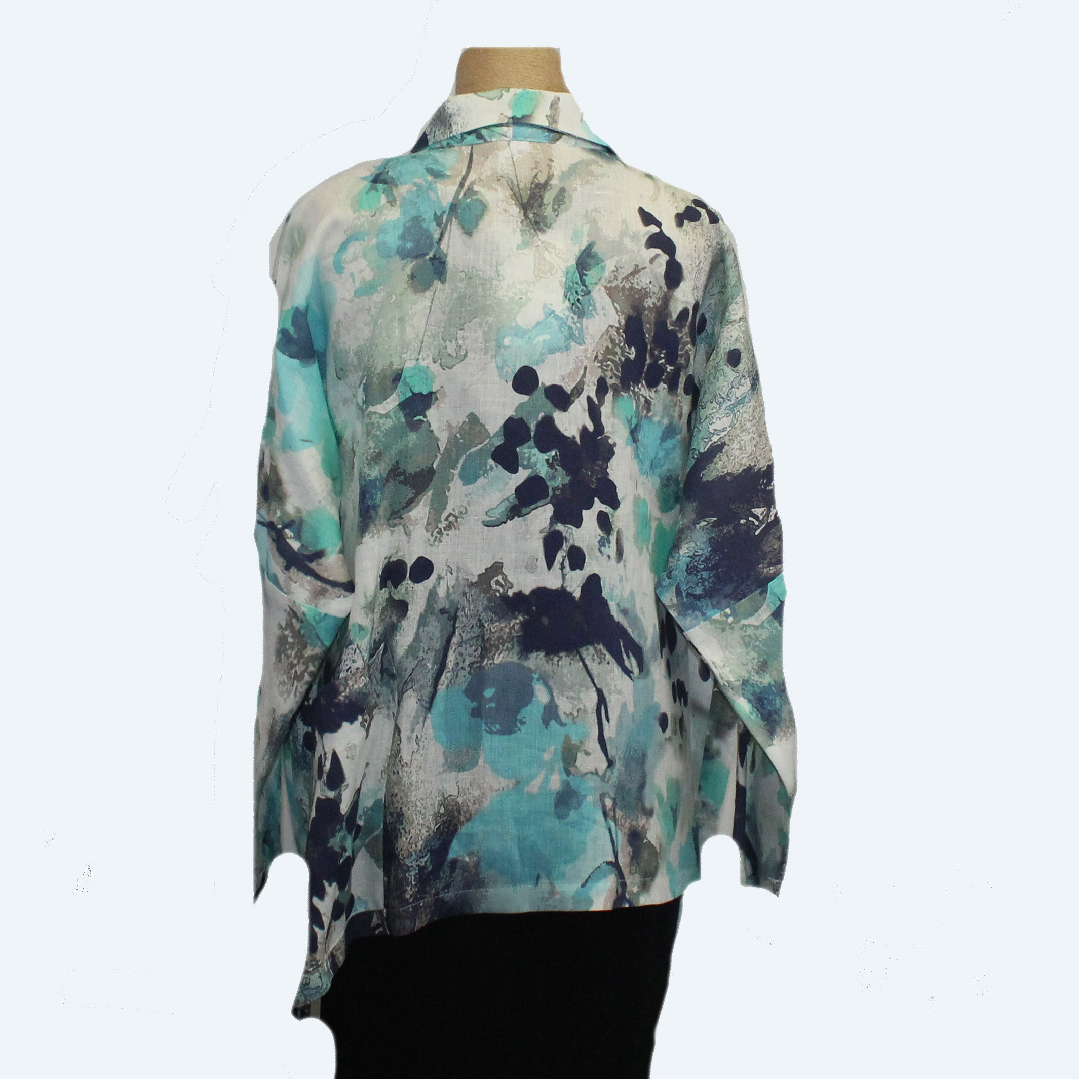 M Square Shirt, Drench, White/Turquoise/Black