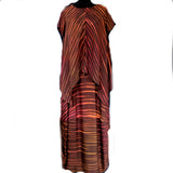 Doshi Shibori Dyed Top and Bubble Skirt Ensemble, Summer, Brown/Orange, M
