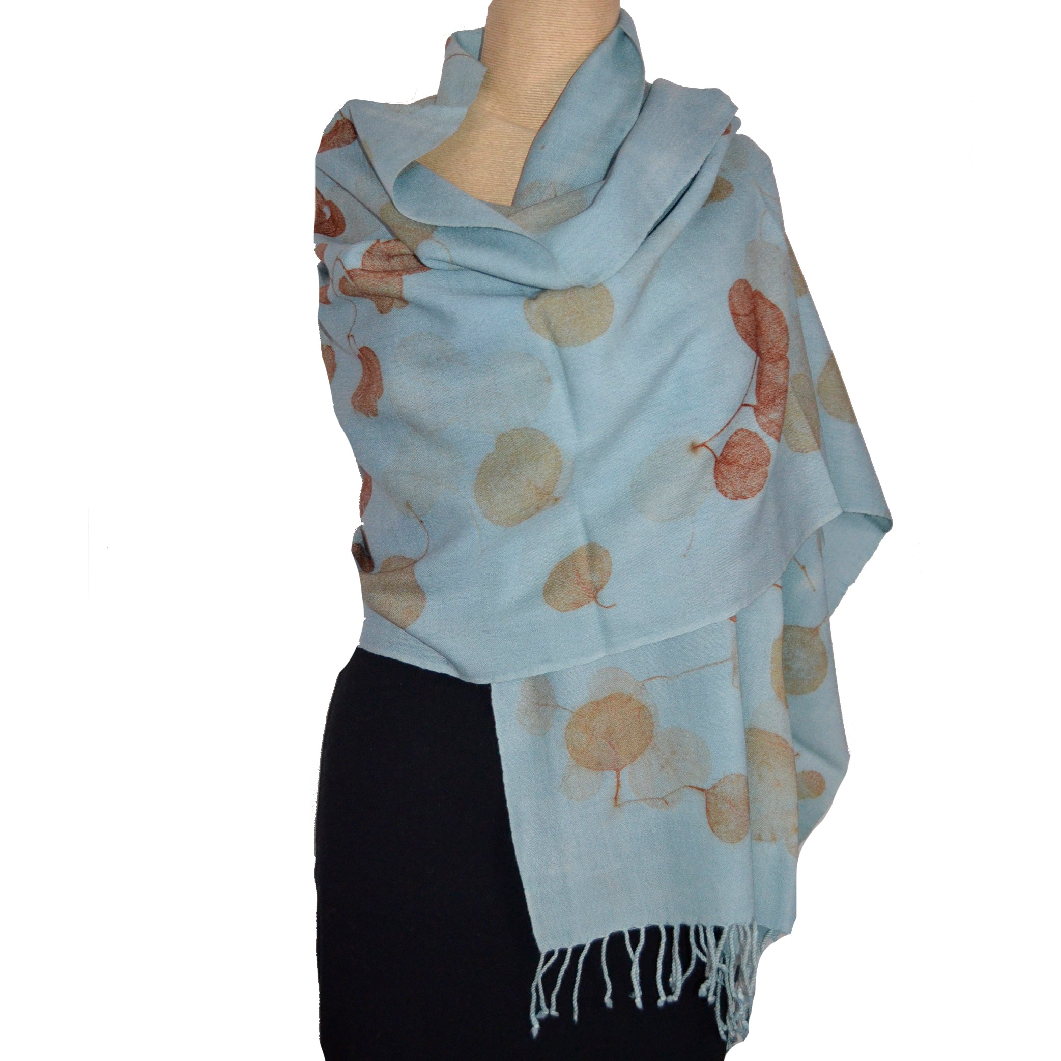 Nan Leaman Shawl, Botanical Printed with Eucalyptus on Baby Blue