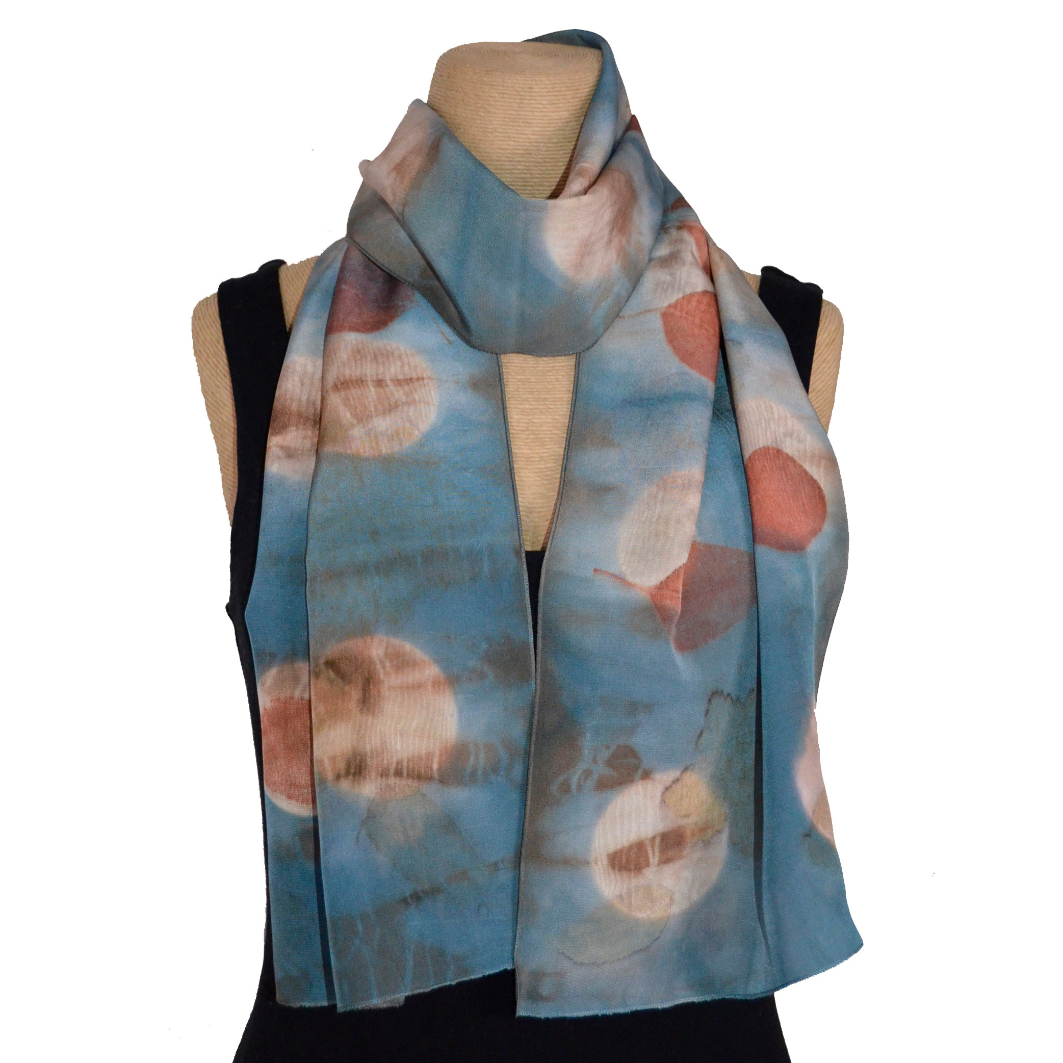 Nan Leaman Scarf, Botanicals with Geranium, Eucalyptus Overdyed in Blue