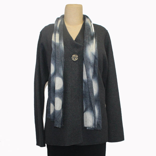 Nan Leaman Jacket, Short Swing, Charcoal with Removable Eco-Print Scarf, L
