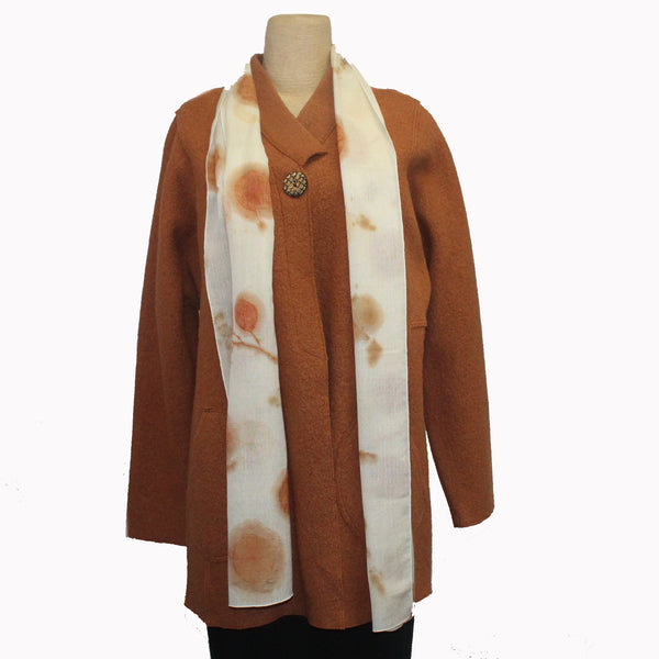 Nan Leaman Jacket, Long, Copper with Removable Eco-Print Scarf, M