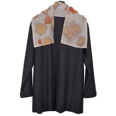 Nan Leaman Jacket, Long, Charcoal with Removable Eco-Print Scarf, L