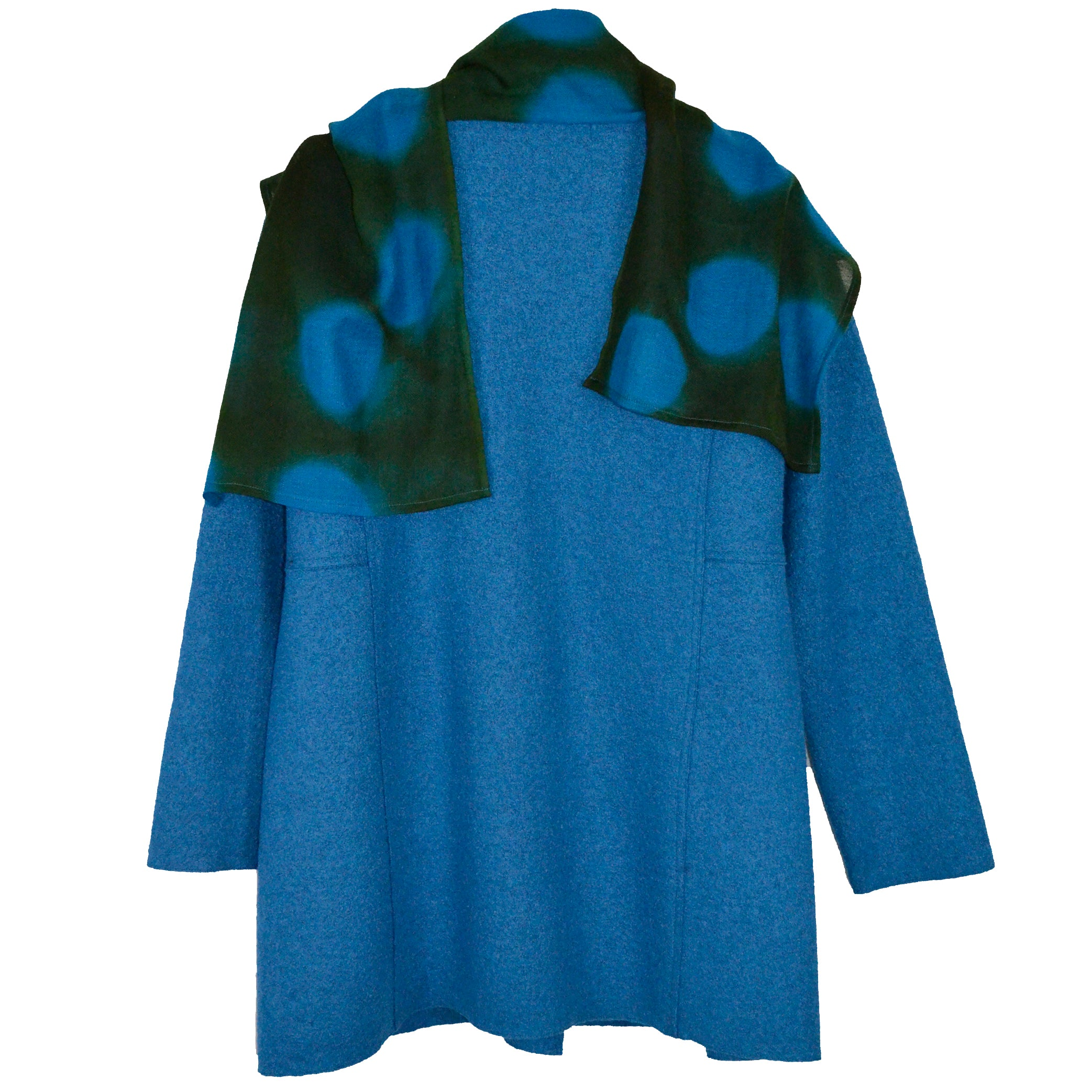 Nan Leaman Jacket, Long, Blue with Removable Shibori Dot Scarf, M