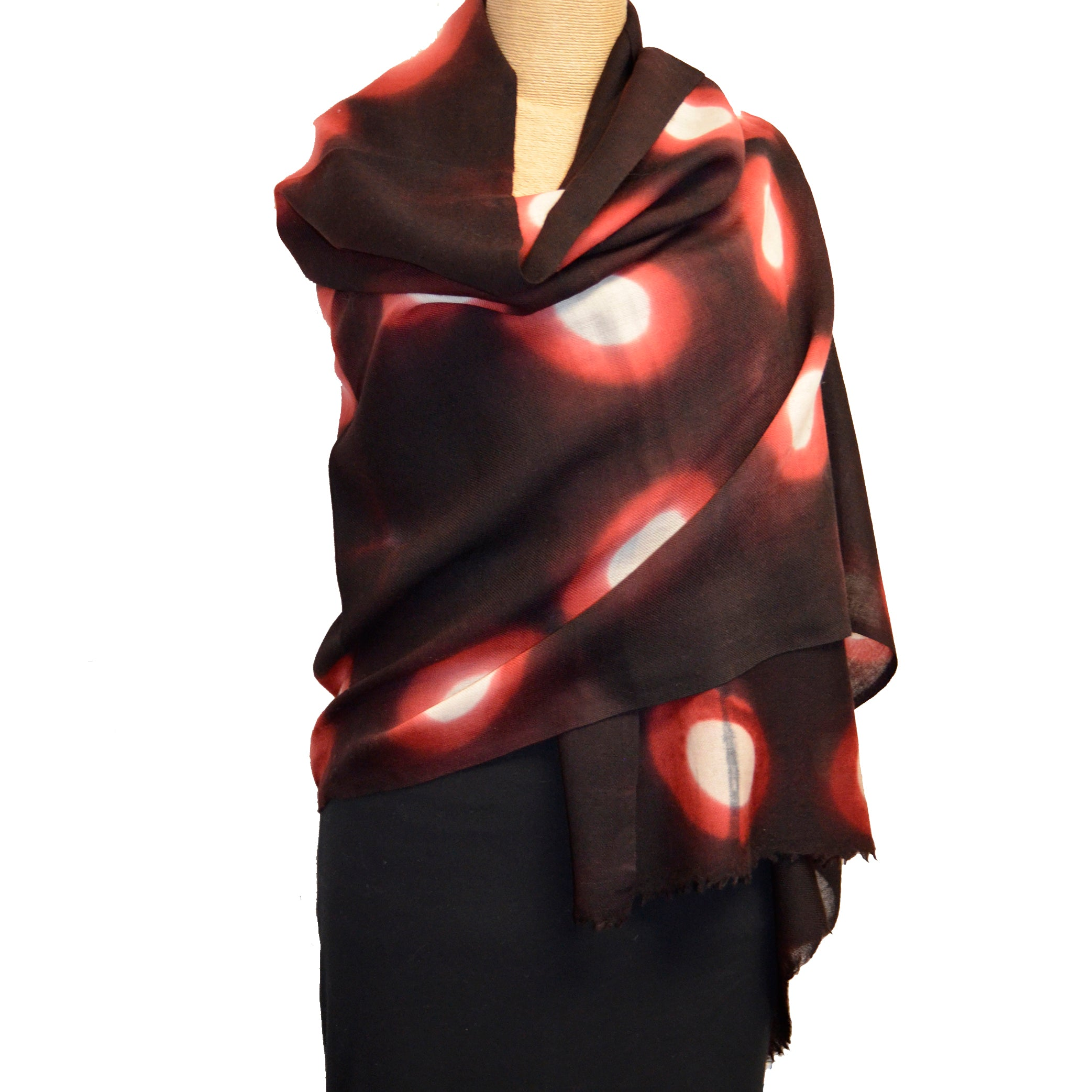 Nan Leaman Shawl, Itajime Shibori, Triangular Clamp, Black, Red, White