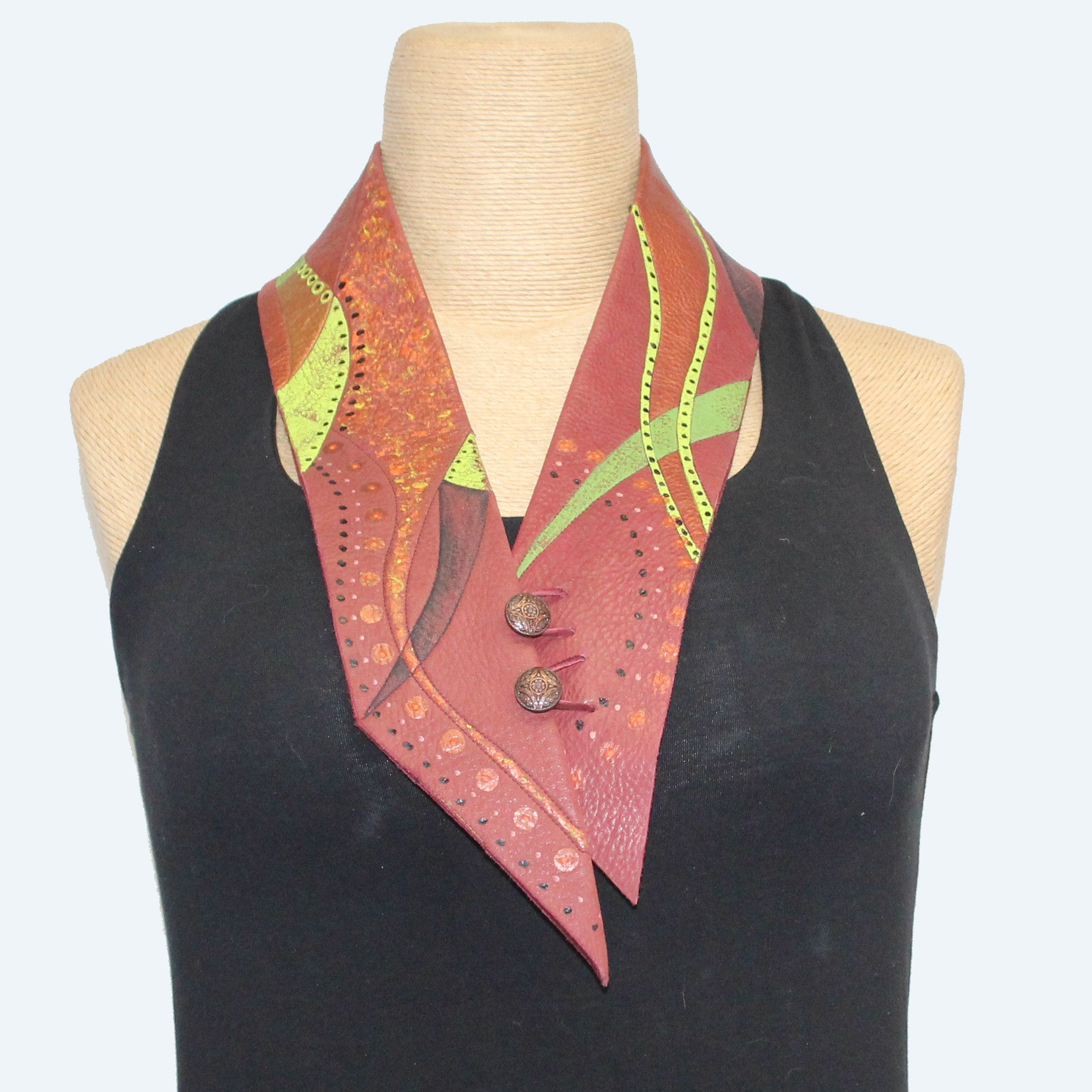 Onoura Scarf, Leather, Copper/Lime