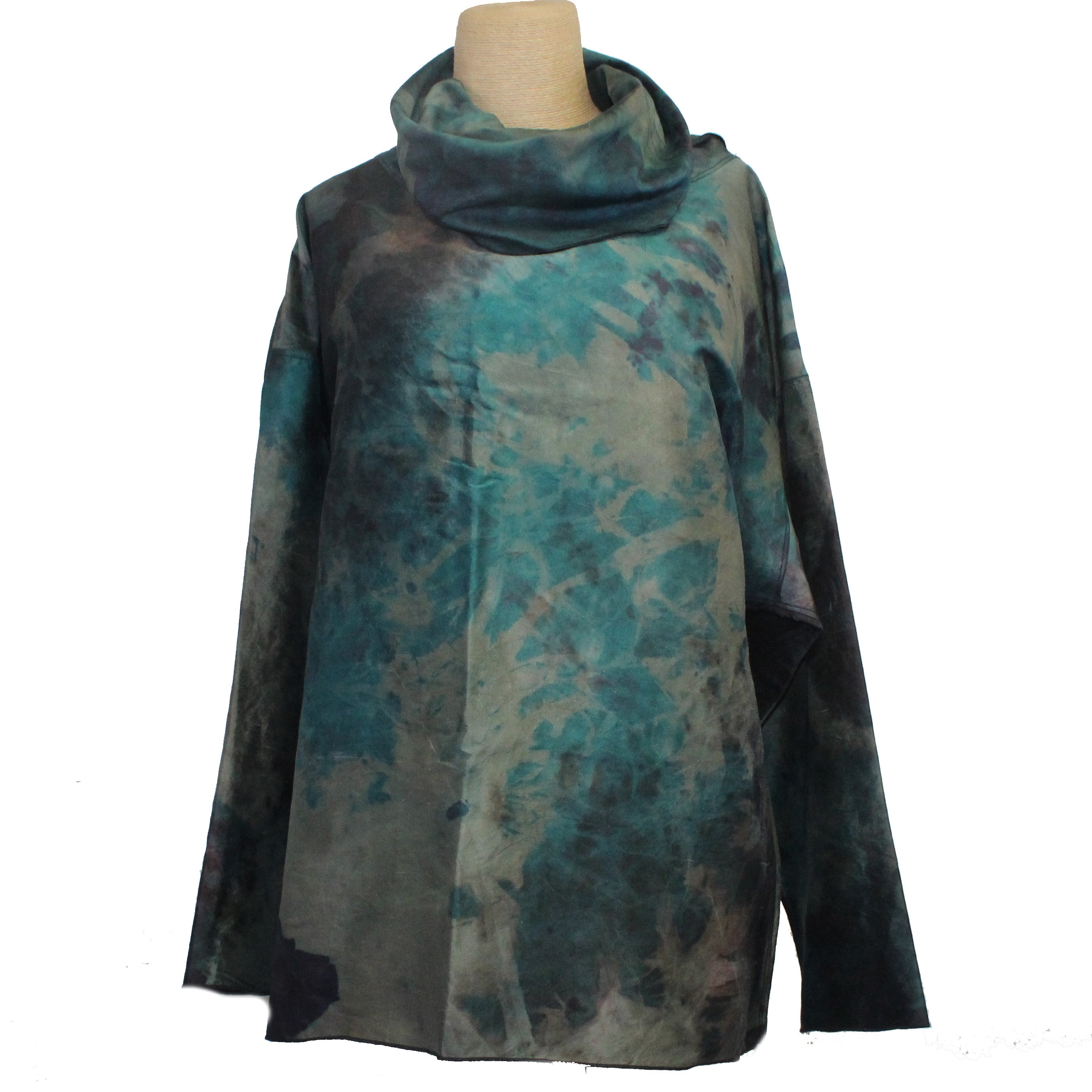 Darwall & Murphy Top, Funnel Neck, Teal/Celery, L/XL