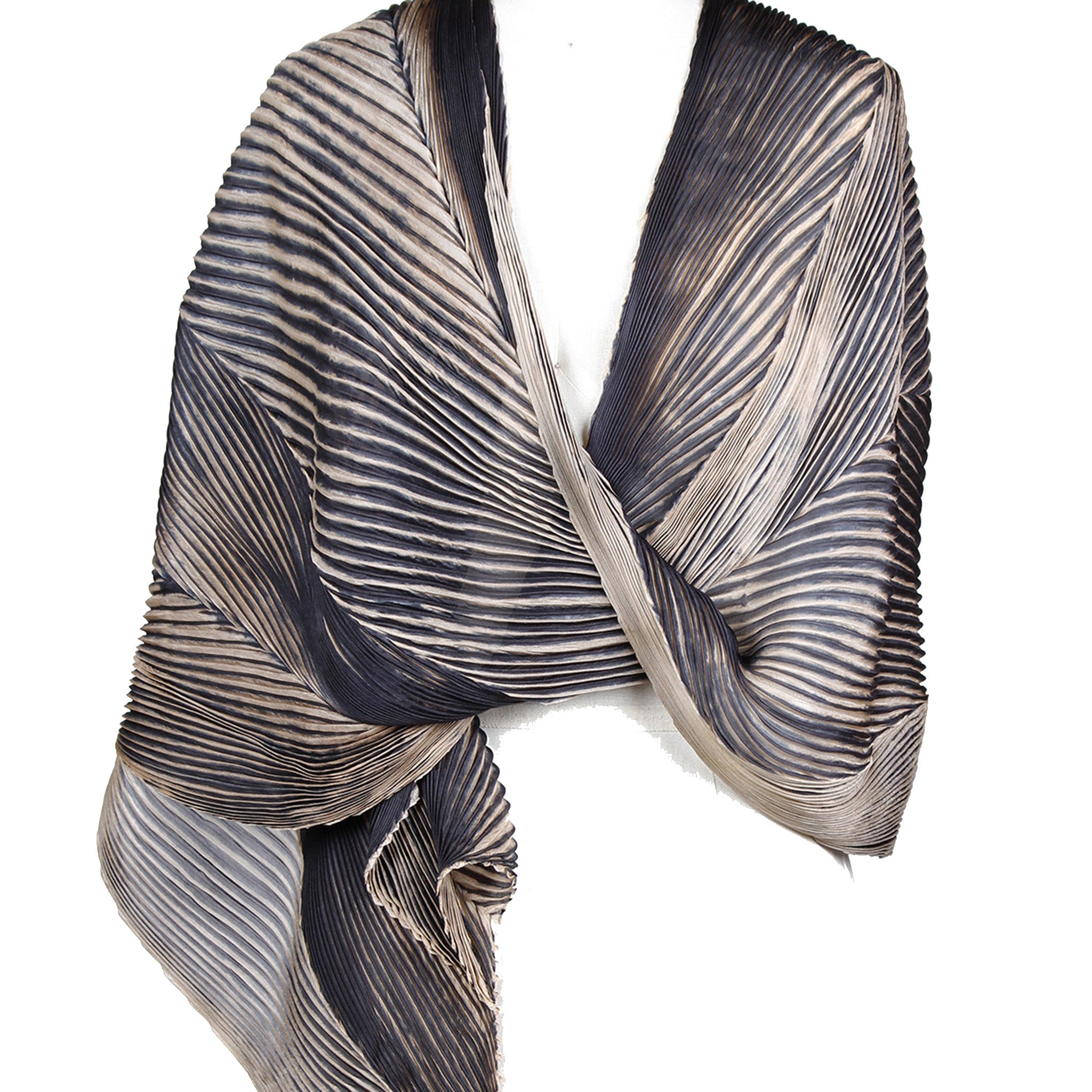 Cathayana Shawl, Pleated Silk Shibori, Black/Beige