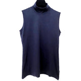 A'Nue Shirt, Turtleneck Sleeveless, Navy