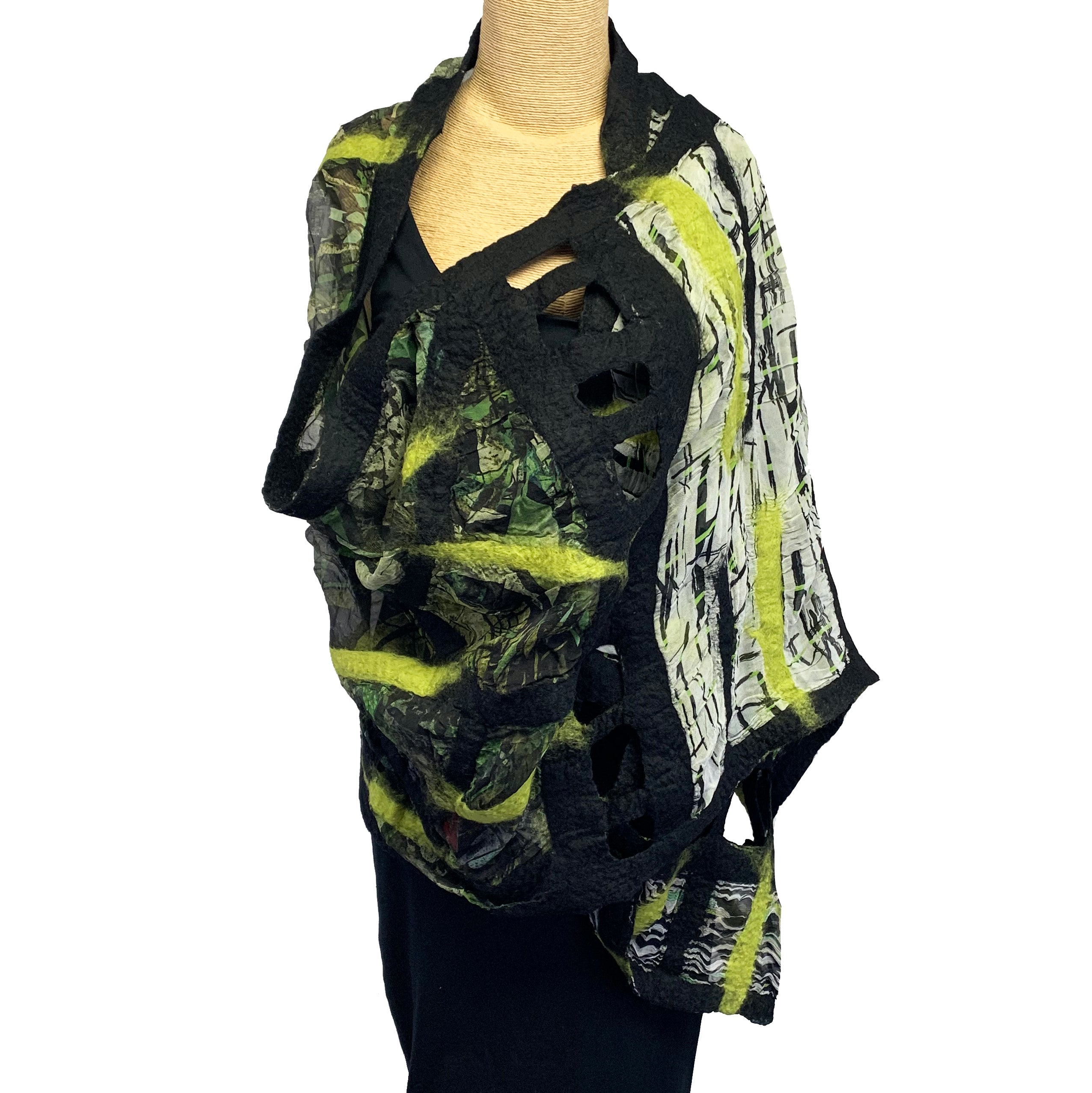 B. Felt Shawl, Green/Black