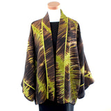 Catherine Bacon Jacket, Kimono, Lime/Dark Brown, OS