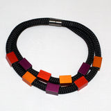 Christina Brampti Necklace, Double Strand, Black/Bright Colors