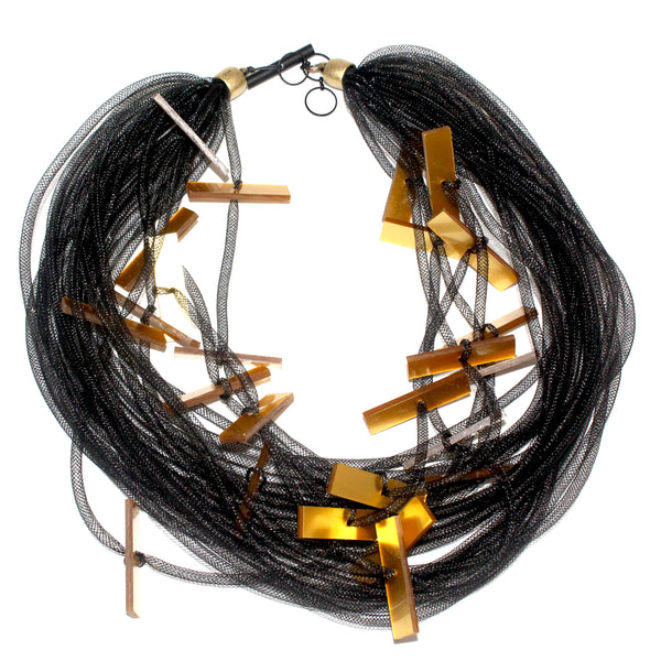 Christina Brampti Necklace, Multi Strand, Black/Gold