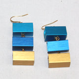 Christina Brampti Earrings, 3 Cubes, Lt Blue/Dark Blue/Gold