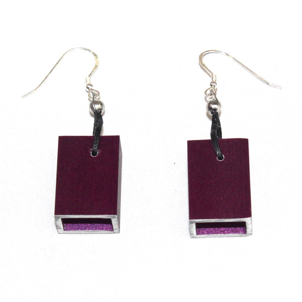 Christina Brampti Earrings, Cube, Purple